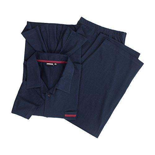 Dunkelblauer Langarm-Pyjama 'Benno' von Adamo in großen Größen bis 10XL
