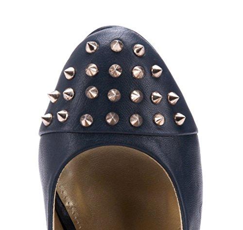 Schuhtempel24 Damen Schuhe Plateau Pumps 15 cm High Heels Blau