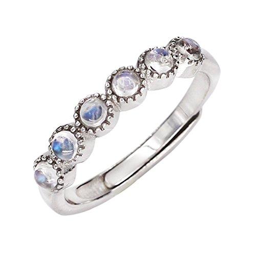 Blue Moonstone Ring (Luna Azure 925 Sterling Silver Six Moonstones Adjustable Finger Ring)