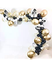 PuTwo Balloons Pack of 70pcs Latex Balloons Confetti Balloons Chrome Balloons Party Balloons for Birthday Party New Year Black Gold Party Gatsby Party Hollywood Party - Black & White & Gold & Marble