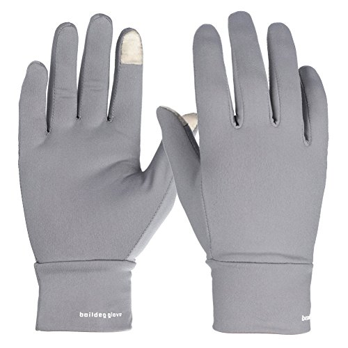 AOAKY Winter Gloves Liner Touchscreen Sports Warm Outdoor Men Women Compression Lightweight Driving Cycling(Gray, Medium) ()