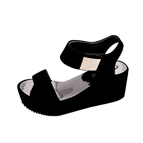 SAGUARO® Frauen-Keil-Plattform-Sandelholz-Knöchelriemen öffnen Sandalen