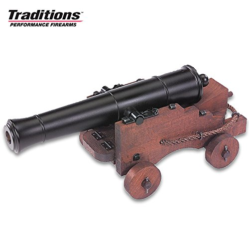 Old Ironsides Mini Cannon – Blued Finish, Hardwood Cart, Fully Functional, 69 Caliber Black Powder – Length 12 1/2