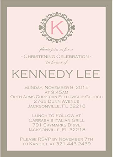 (Girls Blush Personalized Baptism, Christening, First Communion or Baby Dedication Invitations)