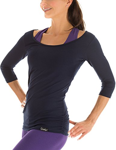 Winshape Damen Fitness Yoga Pilates 3/4-Arm Shirt WS4, Night Blue, Gr. M