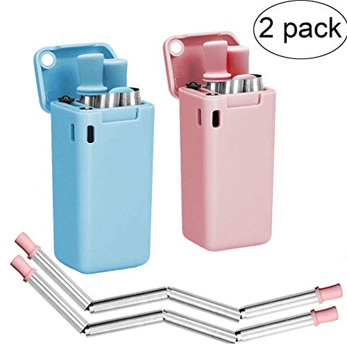 Collapsible Drinking Straw (2 pack), Stainless Steel Reusable Drinking Straw, with Case & Cleaning Brush, Portable Foldable Straw for Household Party Picnic Drink (Pink & Blue)