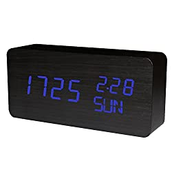 Wooden Alarm Clock, KABB Acoustic Control Digital Clock Black Wood Grain Blue LED Light Design with Time Date Week Temperature 3 Line Display Modes Desk Clock for Office and Home Decor (6 inches)