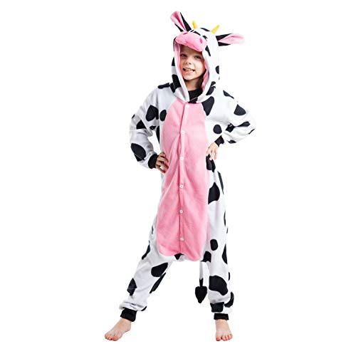 Spooktacular Creations Unisex Child Pajama Plush Onesie One Piece Cow Animal Costume (7-9yr) White