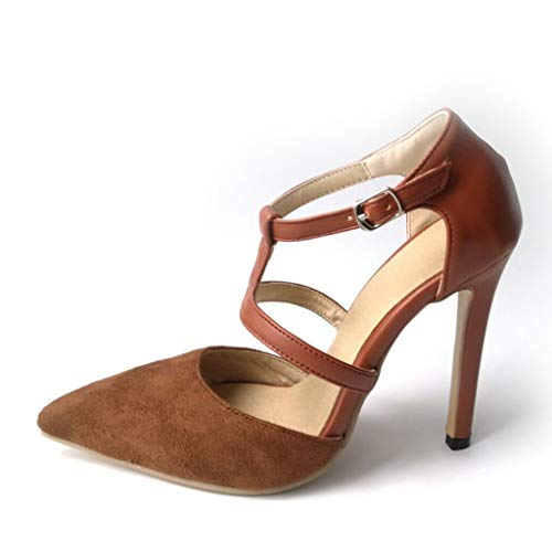 (Jesper Women Sexy Stiletto Heel Pumps Ankle T-Strap Pointed Toe Suede Casual Business Sandals Shoes Brown)