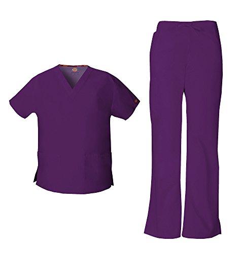 Dickies EDS Signature Women's V-Neck Scrub Top 86706 & Flare Leg Cargo Scrub Pant 86206 Scrubs Set (Eggplant - XX-Large/XXL Tall)