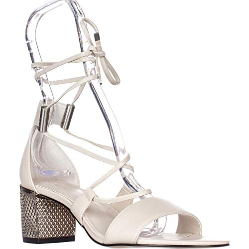 Calvin Klein Womens Natania Leather Open Toe Casual Sandals Soft White Size 8.0 M US
