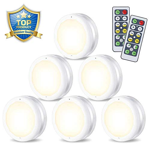 LED Puck Lights,SOLMORE Wireless LED Puck Lights Battery Operated,Kitchen Under Cabinet Lighting with Remote Control,Battery Powered Dimmable Closet Light,Under Counter Lights Night Light (6-Pack)