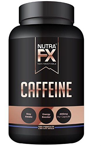 NutraFX Caffeine Pills 200mg Natural Energy and Focus Stimulant Stay Awake Pills 100% Pure Anhydrous Caffeine Powder   Energy Booster Mental Alertness and Thermogenic Fat Burner (200 Capsules)