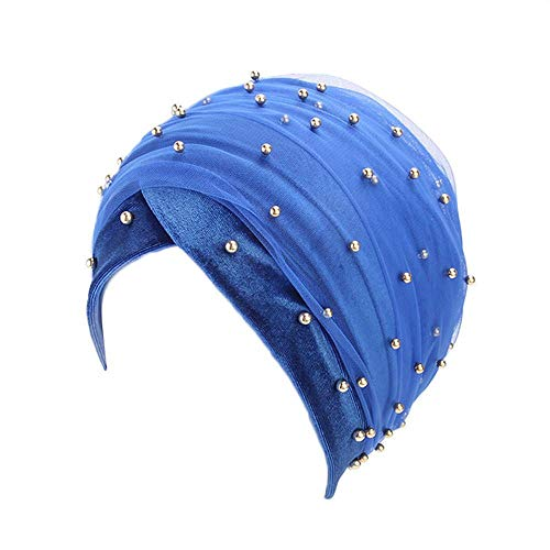 Sunny&Love 2018 Women Hooded Scarves Turban Cap Muslim Hijab Wrap Head Scarf Tie Hat Headwear (Blue) - Airway Head
