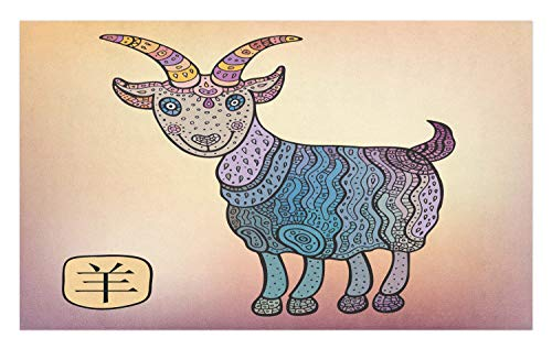 Ambesonne Goat Doormat, Astrological Animal Symbol of Ornamental Goat Figure for Chinese New Year Celebration, Decorative Polyester Floor Mat with Non-Skid Backing, 30 W X 18 L Inches, -