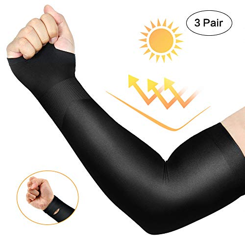 isnowood 3 Pairs Long Cooling Arm Sleeves UV Sun Protection for Men Woman Kids - Sweat Absorbing Dry Fit for Driving/Fishing/Running/Outdoors Long Arm Cover Sleeves (Best Places To Hide Tattoos For Guys)