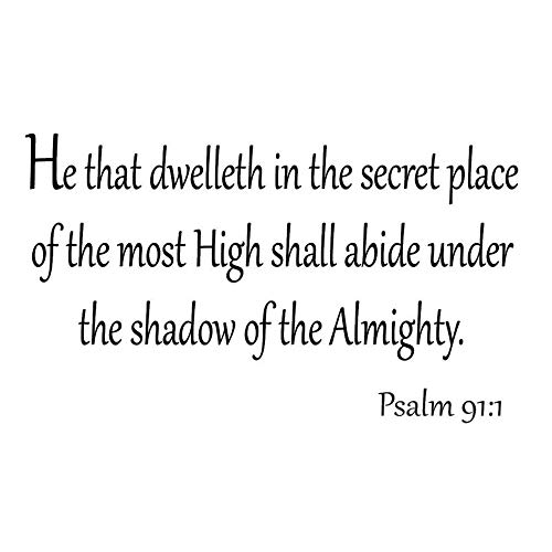 zabrse Decals Wall Stickers Sayings Lettering Room Home Wall Decor Mural Art He That Dwelleth in The Secret Place of The Most High Shall Abide Under The Shadow of The Almighty Bible