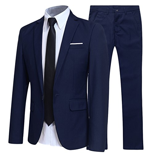 YFFUSHI Slim Fit 2 Piece Suit For Men One Button Casual/Formal/Wedding Tuxedo,Navy,Large ()