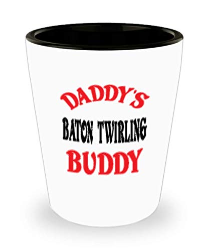 White Ceramic Shot Glass Daddy's Baton twirling Buddy Coffee Mug - Unique Cool Cute Father's Day Gifts Trust Me Great Novelty Gift Dad,al4873 -