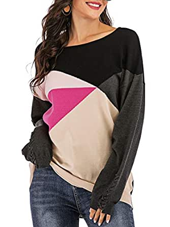 Yomoko Women's Cross Long Sleeve Color Block Loose Oversized Knit Pullover Sweater Tops S Beige