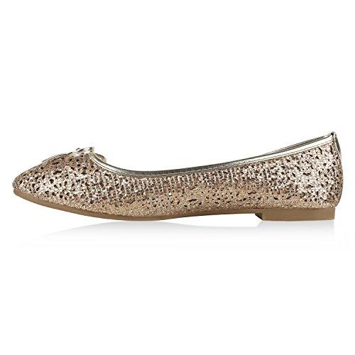 Stiefelparadies Klassische Damen Ballerinas Metallic Slippers Bequeme Flats Glitzer Party Schuhe Abendschuhe Schleifen Flandell Gold Gold