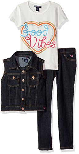 Girls Clothes Set (Limited Too Little Girls' Fashion Top, Vest and Pant Set (More Styles Available), Dark Blue Denim, 5)