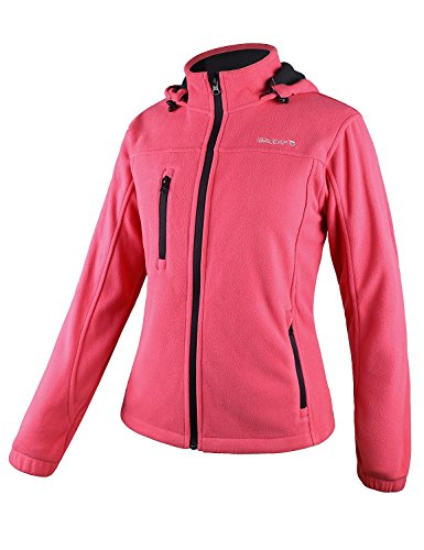 Baleaf Women's Fleece Full Zip Hoodie Jacket Detachable Hood Hot Pink Size L