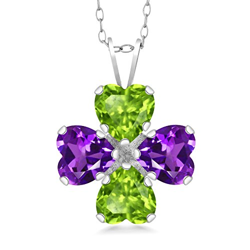 (Gem Stone King 2.96 Ct Heart Shape Green Peridot Purple Amethyst 925 Sterling Silver Pendant)