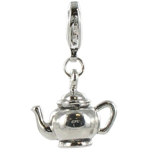 Quiges - Silver Plated Teapot Clip on Charm Lobster Clasp