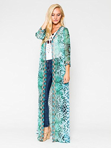 Adoire Womens Studded Long Jacket Georgette Swimsuit cover up (Large, Turquoise)