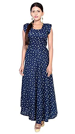 d296053a35 Image Unavailable. Image not available for. Colour: Fashion Farmer's  Women's Rayon Star Printed Long Maxi Dress ...