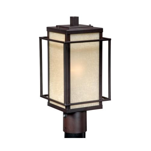 Vaxcel USA RBOPU070EB Robie 1 Light Mission Outdoor Post Lamp Lighting Fixture in Bronze, Glass