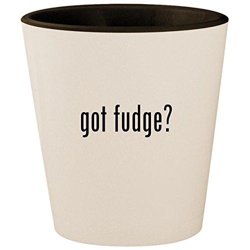 Sugar Free Chocolate Walnut - got fudge? - White Outer & Black Inner Ceramic 1.5oz Shot Glass