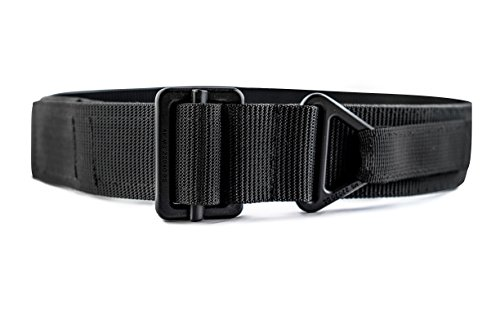 Review WOLF TACTICAL Heavy Duty Rigger's Belt – Stiffened 2-Ply Emergency Rescue Belt for Concealed Carry EDC Survival Wilderness Hunting CCW Combat Duty (Black (Black Buckle), S (28-33))