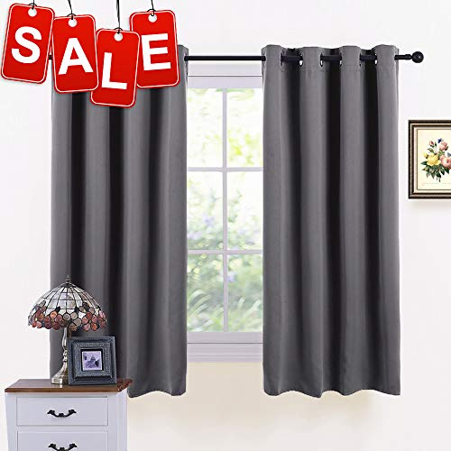 PONY DANCE Short Blackout Curtains - Grey Thermal Insulated Window Curtain Treatments Light Block Energy Saving Drapes Eco-Friendly for Bedroom, Width 52