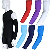 COOLOMG (1 Pair Compression Arm Sleeves for Basketball Football Baseball and Other Activities, 30+ Colors,Youth & Adult