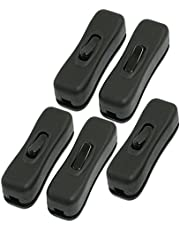 URBEST Plastic 304 Type AC 250V/125V 1A Black ON/Off Button in-Line Cord Switches for Bedroom(Pack of 5)