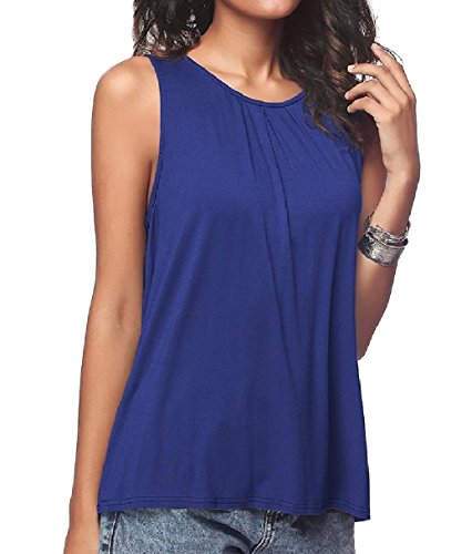 算術ポジション覚醒Tootess Women Basic Cotton Pure Color Casual Round Neck Stretch Vests