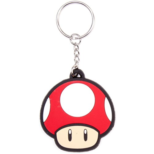 Bioworld Nintendo Super Mario Bros. Red Mushroom Rubber Key Chain -