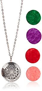"Plant Therapy Aromatherapy Diffuser Necklace Pendant for Essential Oils. 1.15"" Antique Silver Round Locket with Two Chains (21"" & 28"") and 5 Colored Felt Pads (Purple, White, Pink, Red & Green)"