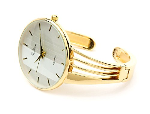 Gold Tone String Style Band Luxury Women's Bangle Cuff Watch by FTW (Image #1)