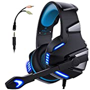#LightningDeal Micolindun Gaming Headset for PS4, Xbox One, PC, Noise Cancelling Headset with Mic LED Light, Stereo Bass Surround, Soft Memory Earmuffs, Over Ear Headphones for Smart Phone, Laptops, Tablet
