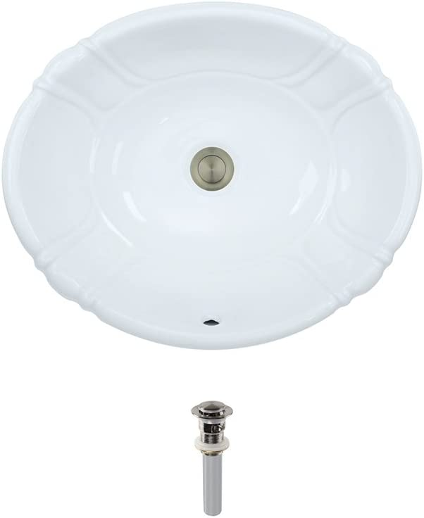 O1815-White Overmount Porcelain Bathroom Sink Ensemble, Brushed Nickel Pop-Up Drain