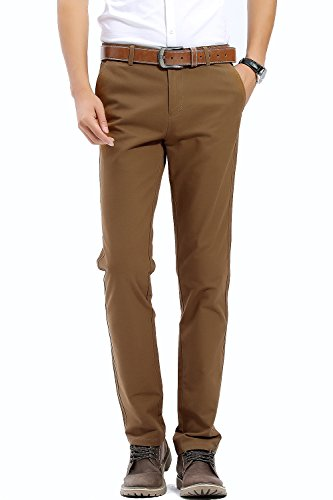 57b8f133aa5 FLY HAWK Mens Slim Fit Flat Front Casual Twill Pants 100% Cotton Work Tapered  Pants