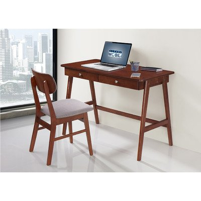 TECHNI MOBILI Modern Desk with storage and Chair Set - Mahogany / Gray by Techni Mobili