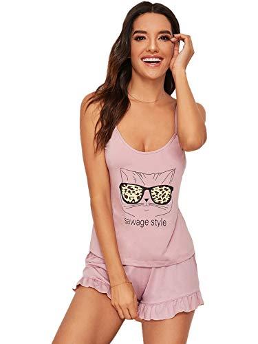 Ruffle Cami Set - DIDK Women's Cat Letter Print Ruffle Hem Cami and Shorts Pajama Set Pink L
