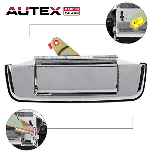 AUTEX Chrome Metal Tailgate Handle Liftgate Truck Rear Hatch Door Handle Compatible with Toyota Pickup 1989 1990 1991 1992 1993 1994 1995 Tailgate Handle 77058 ()