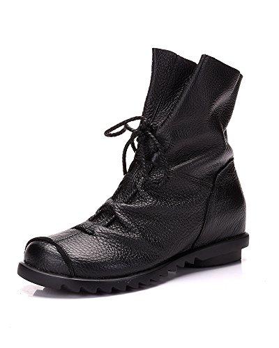 Mrs Duberess Women's Fleece Lined Comfirtable Handmade Soft Leather Boots for Winter Fall Black