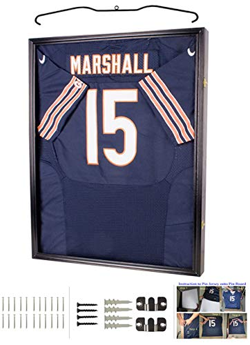 UV Protection Baseball/Football Jersey Frame Display Case Shadow Box, Black (JC04-BL) (Display Four Case Baseball)