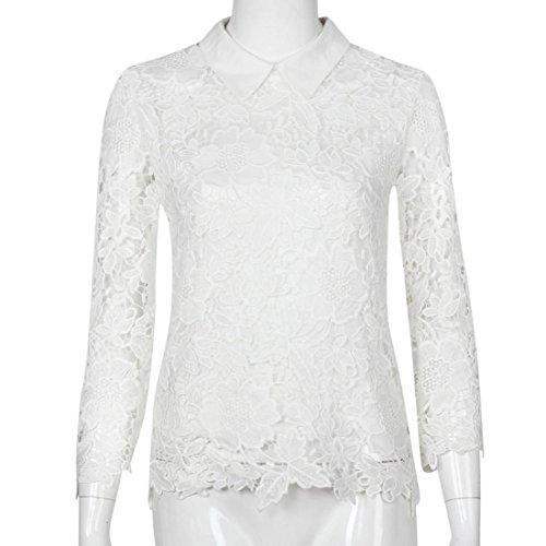 Tongshi Camisa para mujer floja ocasional de la manga larga de encaje remata la blusa de las señoras Tops